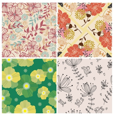 4 flower seamless pattern Vector
