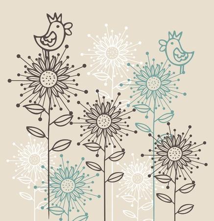 serenata: Fondo con p�jaros y flores Vectores