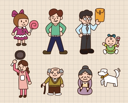 grandkids: cute cartoon family Illustration