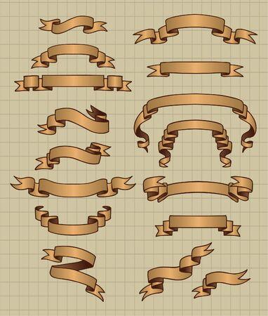 curled edges: Vecchio banner  Vettoriali
