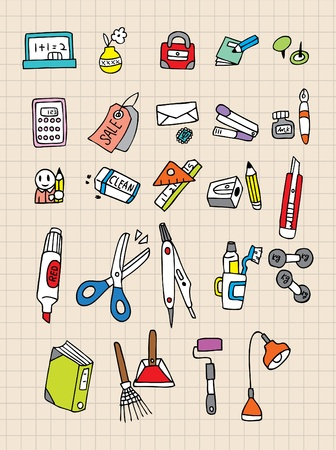 hand draw stationery Vector