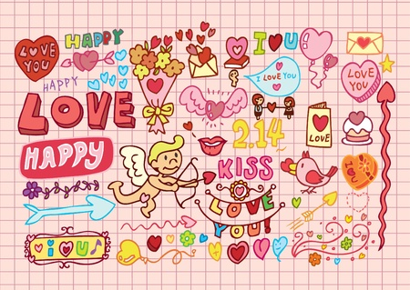 Hand-drawn cartoon romantic set Vector