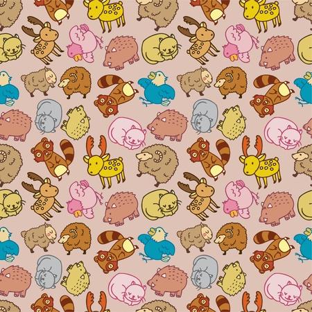 Seamless cartoon animal pattern Vector