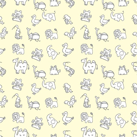 seamless cute animals pattern Vector