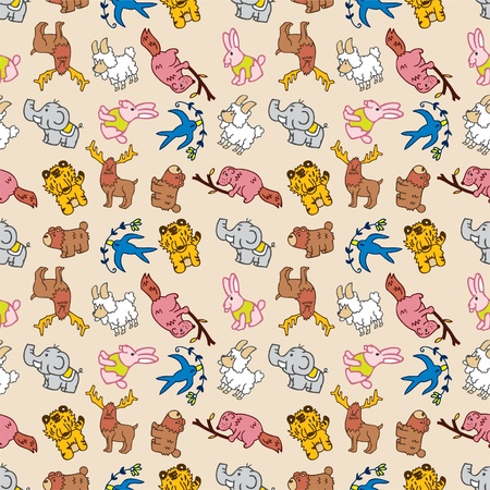 seamless cute animal pattern Vector