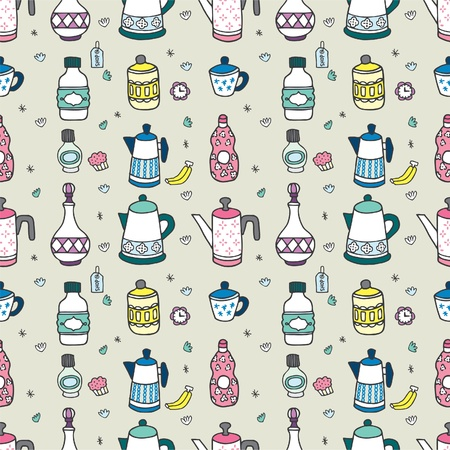 seamless cartoon bottle pattern Vector