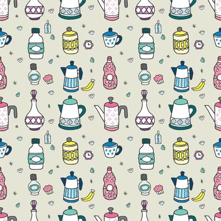 seamless cartoon bottle pattern Vector