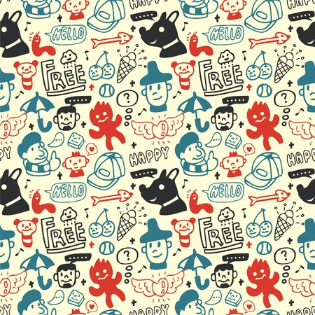 Funny creatures collection. Seamless pattern. Stock Vector - 8493854