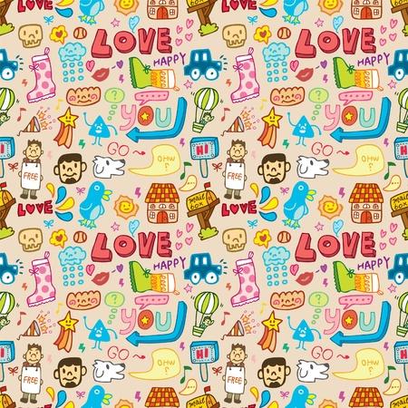 personages: seamless cute cartoon pattern Illustration