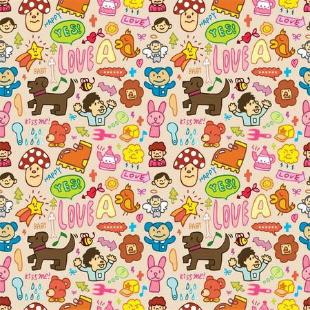 cute cartoon seamless pattern Stock Vector - 8493847