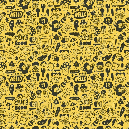 yellow character: cute cartoon seamless pattern