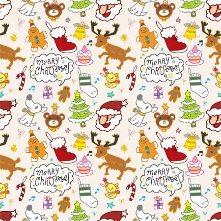 Seamless Christmas funny cartoon Stock Vector - 8493855