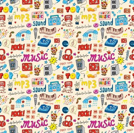 canta: carino musica icona perfetta pattern Vettoriali
