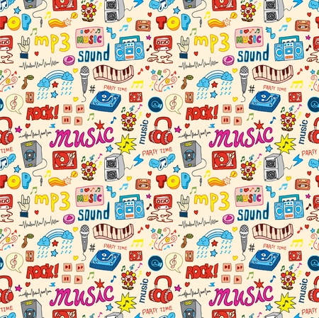 cute music icon seamless pattern Stock Vector - 8501573