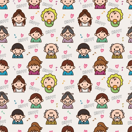 seamless cute family pattern,illustration Vector