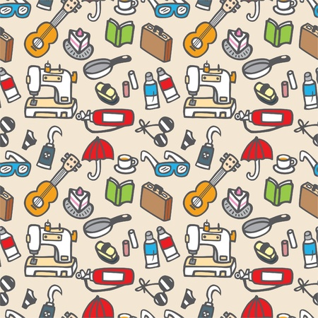 sewing box: seamless cute object pattern illustration