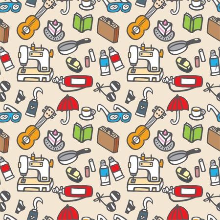 sewing box: seamless cute object pattern illustration