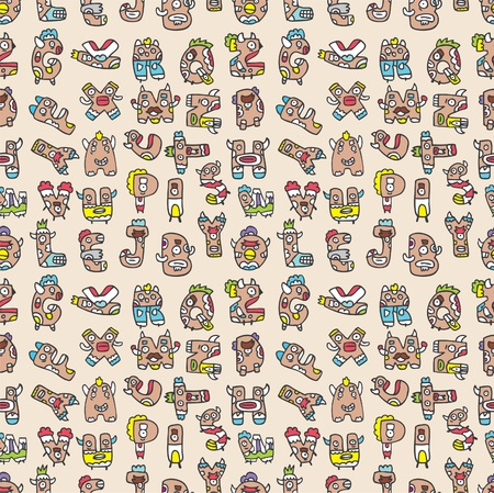 monster letters seamless pattern Vector
