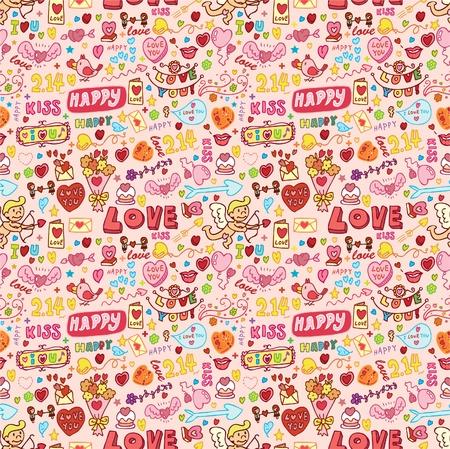 귀여운 사랑 요소 원활한 패턴 일러스트