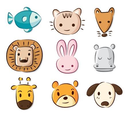 cute cartoon animals 일러스트