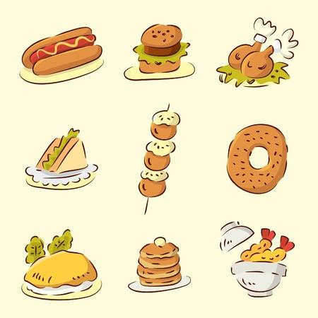 귀여운 만화 음식 일러스트
