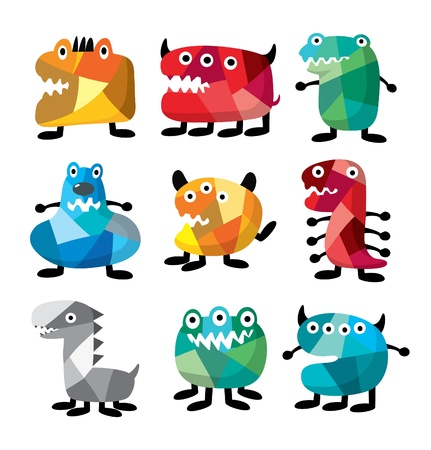 animal teeth: cute colorful monster Illustration