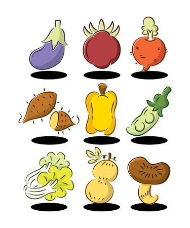 cute cartoon vegetables element Vector