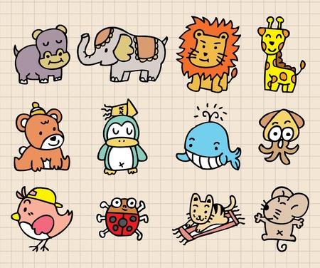 cute animal element, hand draw icon Vector