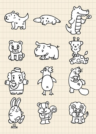 hand draw cute animal Vector