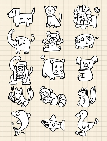 hand draw animals Vector
