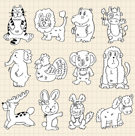 cute animals draw Vector