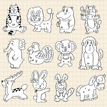 cute animals draw Stock Vector - 8493733