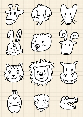 cute cartoon animal face Vector
