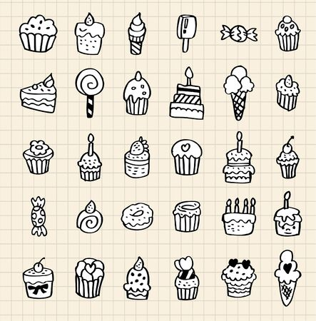 hand draw cake element Vector