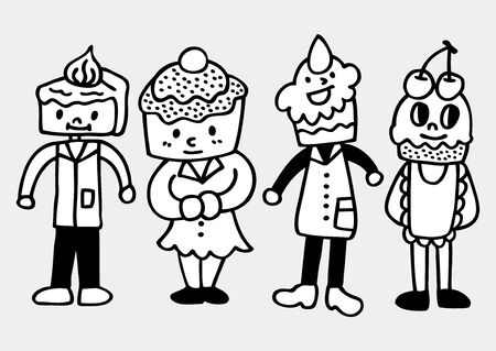 fake smile: cake family draw Illustration