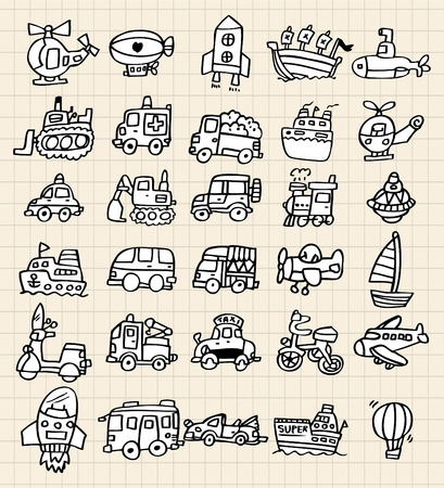 hand draw cute car element Vector