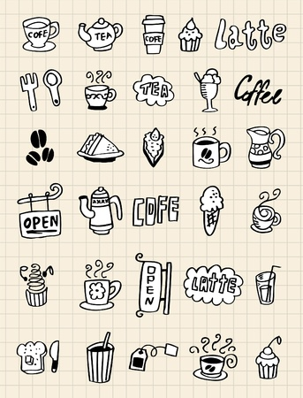 hand draw coffee element Vector