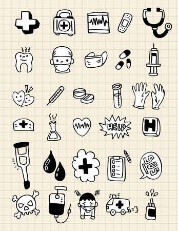 bakterie: doodle doctor element,hand draw Illustration