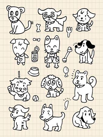 amigos comiendo: mano dibujar el elemento de perro lindo
