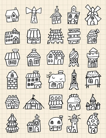 hand draw cute house 向量圖像