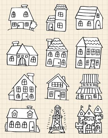 귀여운 집을 그려라. 일러스트