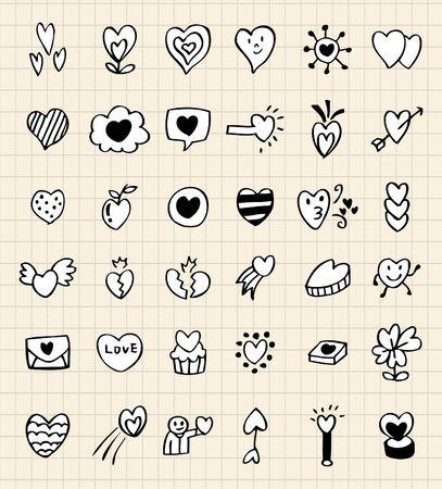 hand draw love element Vetores