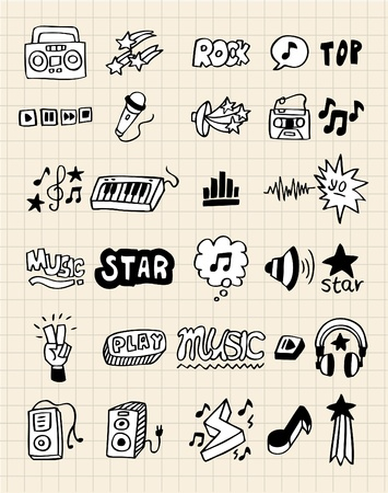 hand draw music element Vector