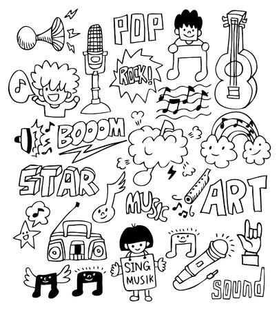 Mano dibujar el elemento de la música Foto de archivo - 8492102