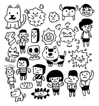 ridicolo: mano disegnare cartoon girl