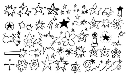 star wand: doodle star element set Illustration