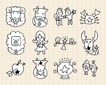 jungfrau: Hand zeichnen Constellation Illustration