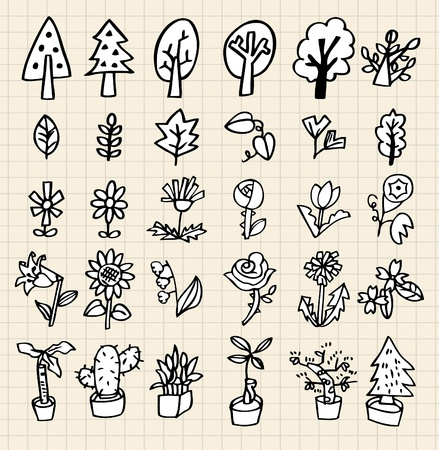 hand draw tree icon Vector