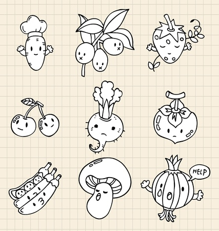 fruit cartoon: hand draw Vegetables element Illustration