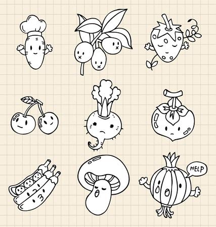 pepino caricatura: mano dibujar el elemento de verduras